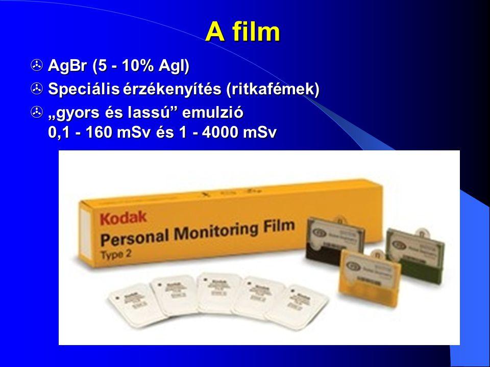 """A film  AgBr (5 - 10% AgI)  Speciális érzékenyítés (ritkafémek)  """"gyors és lassú"""" emulzió 0,1 - 160 mSv és 1 - 4000 mSv Filmalap (0,2 mm) gyorsemul"""