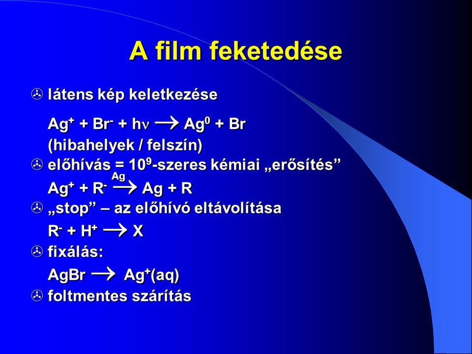 """A film feketedése  látens kép keletkezése Ag + + Br - + h   Ag 0 + Br (hibahelyek / felszín)  előhívás = 10 9 -szeres kémiai """"erősítés"""" Ag Ag + +"""