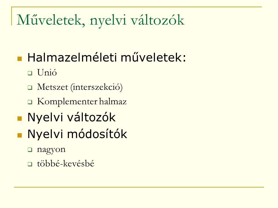 Műveletek, nyelvi változók  Halmazelméleti műveletek:  Unió  Metszet (interszekció)  Komplementer halmaz  Nyelvi változók  Nyelvi módosítók  nagyon  többé-kevésbé