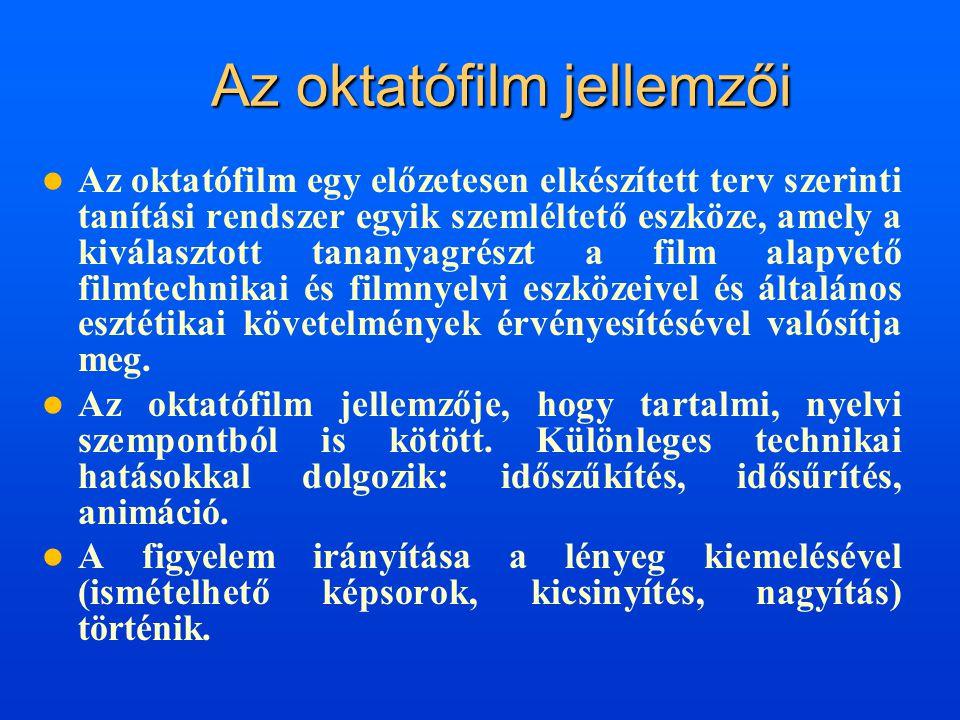 Az oktatófilm jellemzői  Az oktatófilm egy előzetesen elkészített terv szerinti tanítási rendszer egyik szemléltető eszköze, amely a kiválasztott tan