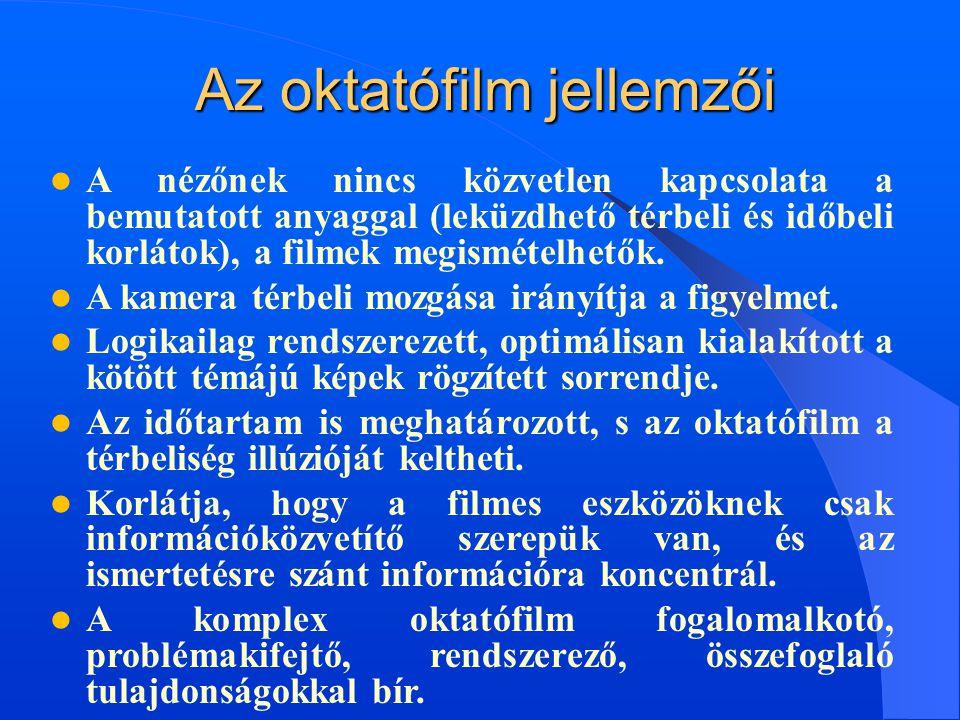  A nézőnek nincs közvetlen kapcsolata a bemutatott anyaggal (leküzdhető térbeli és időbeli korlátok), a filmek megismételhetők.  A kamera térbeli mo