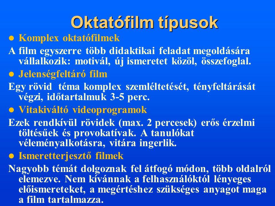 Oktatófilm típusok  Komplex oktatófilmek A film egyszerre több didaktikai feladat megoldására vállalkozik: motivál, új ismeretet közöl, összefoglal.