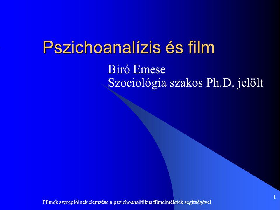 Filmek szereplőinek elemzése a pszichoanalitikus filmelméletek segítségével 1 Pszichoanalízis és film Biró Emese Szociológia szakos Ph.D. jelölt