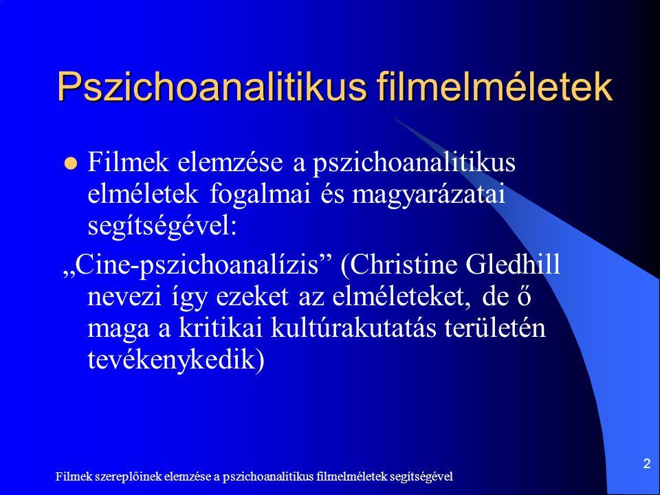 Filmek szereplőinek elemzése a pszichoanalitikus filmelméletek segítségével 2 Pszichoanalitikus filmelméletek  Filmek elemzése a pszichoanalitikus el