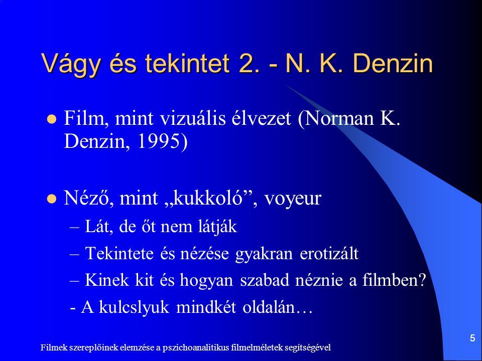Filmek szereplőinek elemzése a pszichoanalitikus filmelméletek segítségével 5 Vágy és tekintet 2. - N. K. Denzin  Film, mint vizuális élvezet (Norman