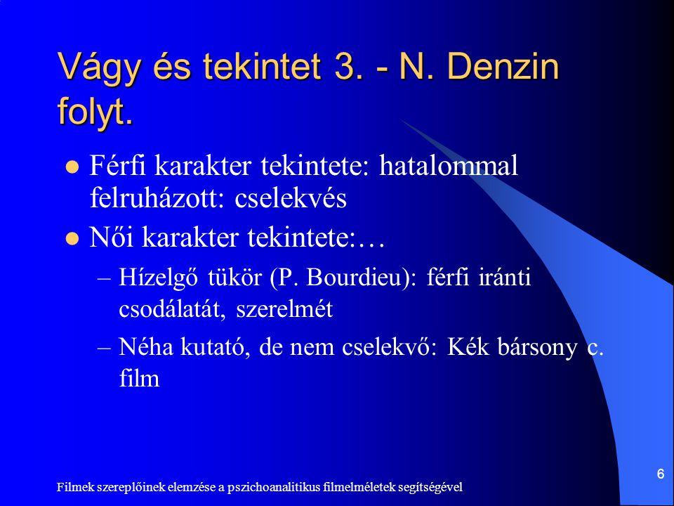 Filmek szereplőinek elemzése a pszichoanalitikus filmelméletek segítségével 7 Azonosulás (identifikáció)  Azonosulás funkciója, haszna: személyiség és identitás felépítése, megerősítése  Ki kivel azonosul/azonosulhat.