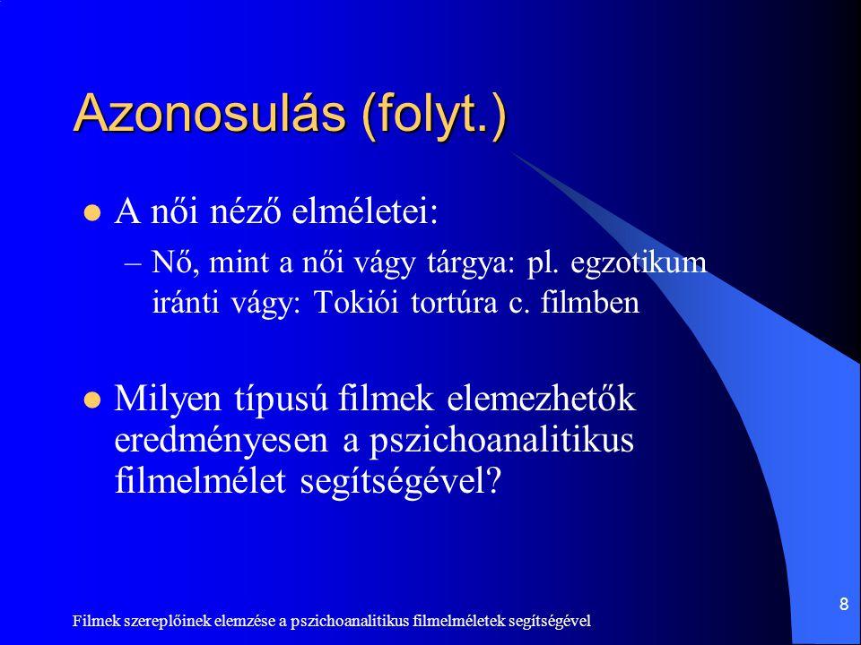 Filmek szereplőinek elemzése a pszichoanalitikus filmelméletek segítségével 9 Nemcsak vágy…  Mit képviselnek még a filmek női szereplői a vágyon kívül.