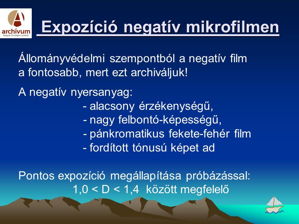 Expozíció negatív mikrofilmen Expozíció negatív mikrofilmen Állományvédelmi szempontból a negatív film a fontosabb, mert ezt archiváljuk! A negatív ny