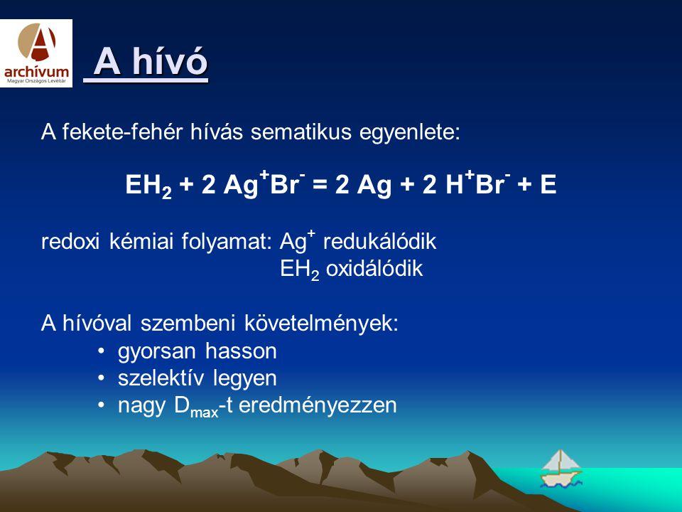A hívó A hívó A fekete-fehér hívás sematikus egyenlete: EH 2 + 2 Ag + Br - = 2 Ag + 2 H + Br - + E redoxi kémiai folyamat: Ag + redukálódik EH 2 oxidá
