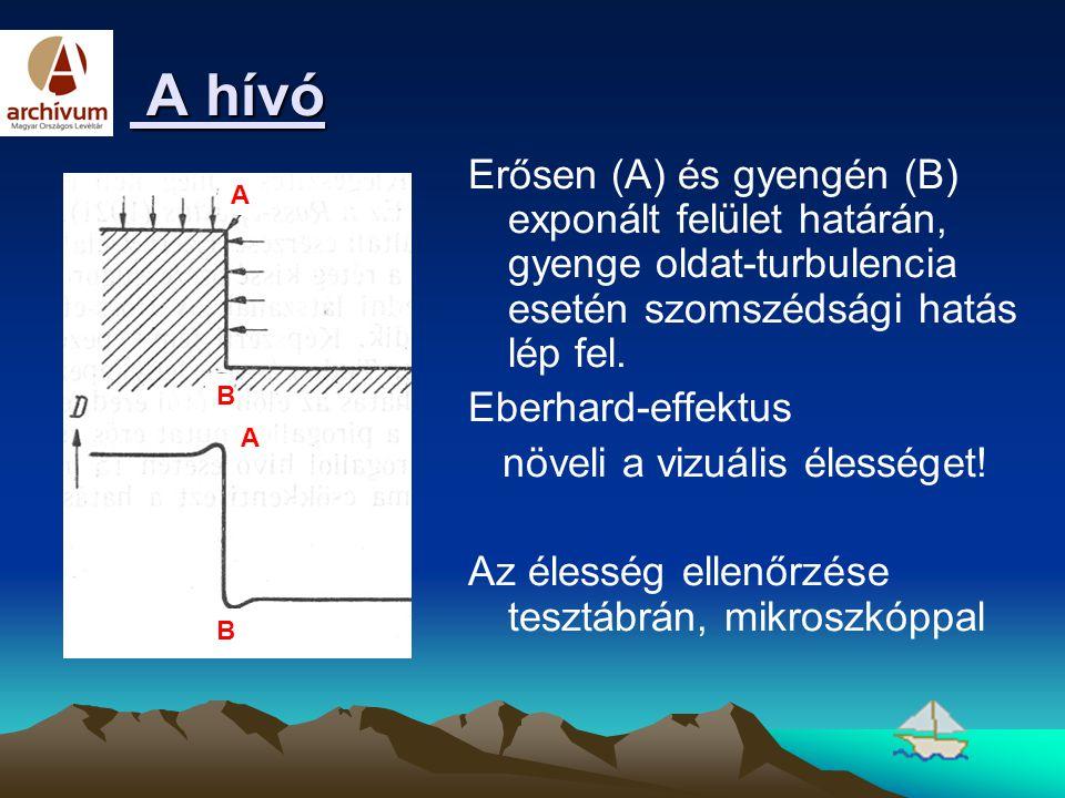 A hívó A hívó Erősen (A) és gyengén (B) exponált felület határán, gyenge oldat-turbulencia esetén szomszédsági hatás lép fel. Eberhard-effektus növeli