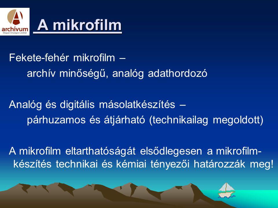 A mikrofilm A mikrofilm Fekete-fehér mikrofilm – archív minőségű, analóg adathordozó Analóg és digitális másolatkészítés – párhuzamos és átjárható (te
