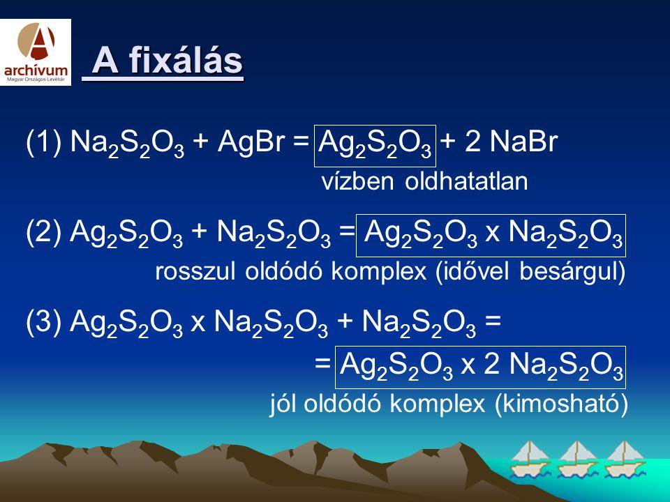 A fixálás A fixálás (1) Na 2 S 2 O 3 + AgBr = Ag 2 S 2 O 3 + 2 NaBr vízben oldhatatlan (2) Ag 2 S 2 O 3 + Na 2 S 2 O 3 = Ag 2 S 2 O 3 x Na 2 S 2 O 3 r