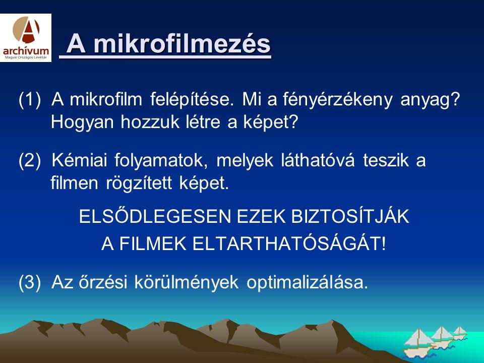 A mikrofilmezés A mikrofilmezés (1) A mikrofilm felépítése. Mi a fényérzékeny anyag? Hogyan hozzuk létre a képet? (2) Kémiai folyamatok, melyek láthat