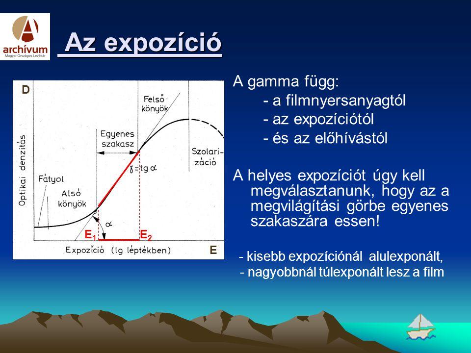 Az expozíció Az expozíció A gamma függ: - a filmnyersanyagtól - az expozíciótól - és az előhívástól A helyes expozíciót úgy kell megválasztanunk, hogy