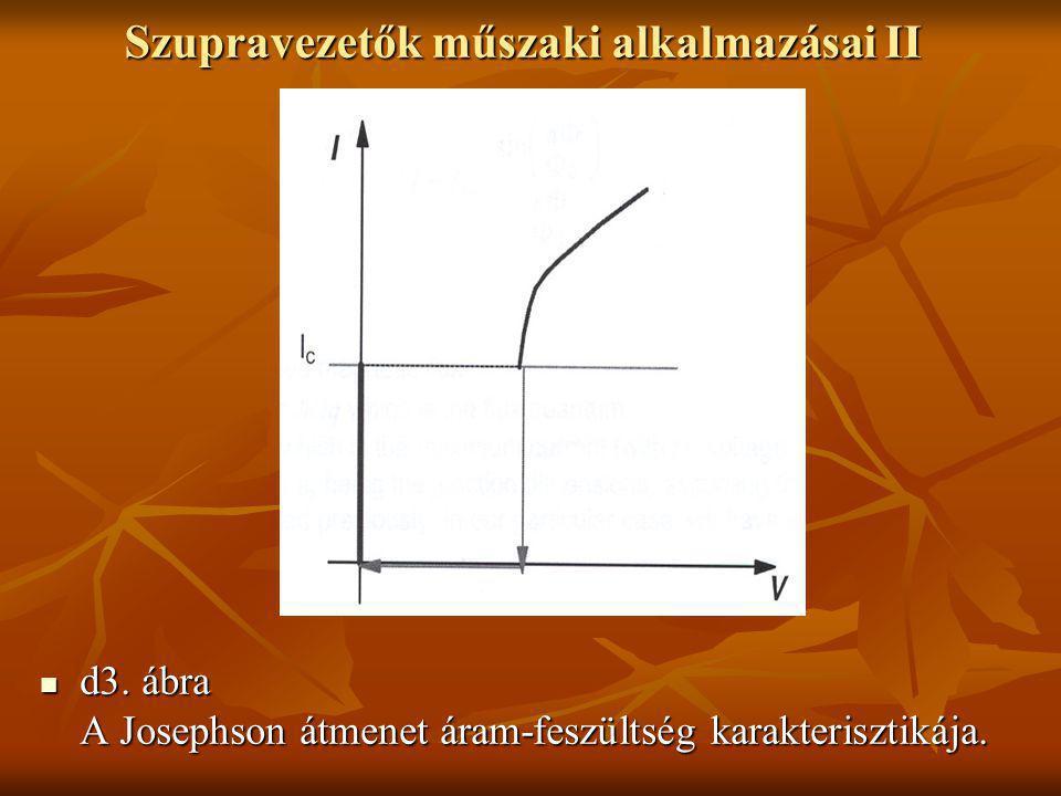 Szupravezetők műszaki alkalmazásai II  d3. ábra A Josephson átmenet áram-feszültség karakterisztikája.