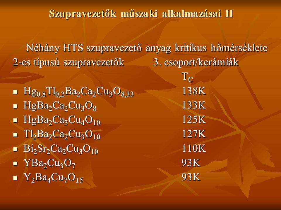 Szupravezetők műszaki alkalmazásai II Néhány HTS szupravezető anyag kritikus hőmérséklete Néhány HTS szupravezető anyag kritikus hőmérséklete 2-es típusú szupravezetők 3.