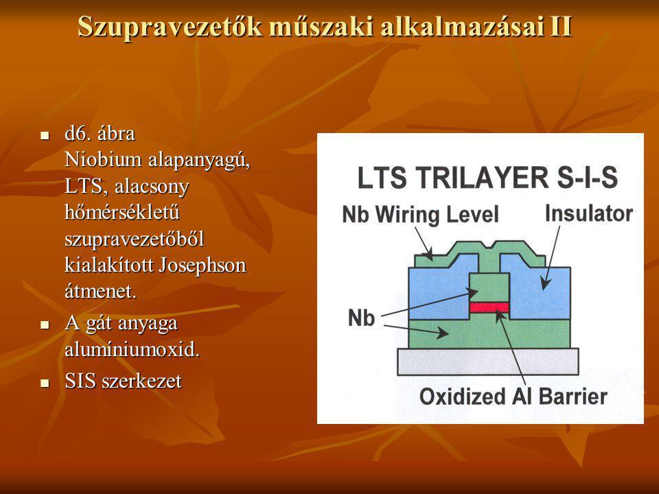 Szupravezetők műszaki alkalmazásai II  d6. ábra Niobium alapanyagú, LTS, alacsony hőmérsékletű szupravezetőből kialakított Josephson átmenet.  A gát