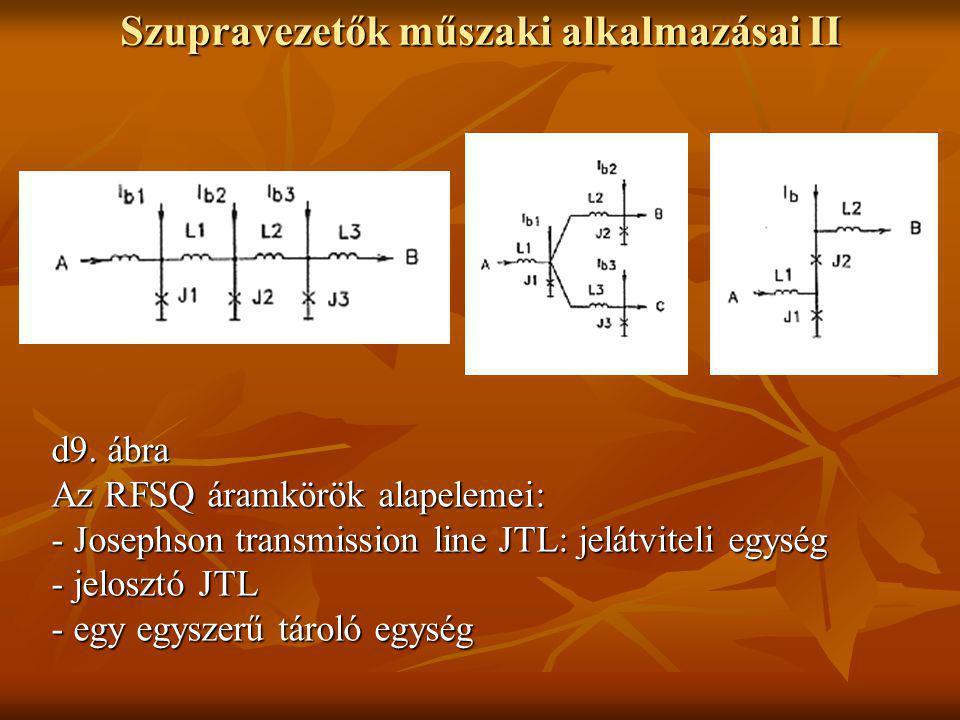 Szupravezetők műszaki alkalmazásai II d9. ábra Az RFSQ áramkörök alapelemei: - Josephson transmission line JTL: jelátviteli egység - jelosztó JTL - eg