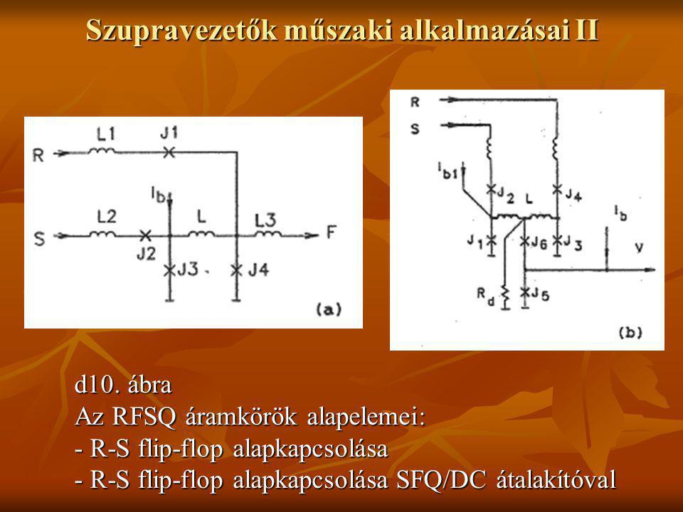 Szupravezetők műszaki alkalmazásai II d10. ábra Az RFSQ áramkörök alapelemei: - R-S flip-flop alapkapcsolása - R-S flip-flop alapkapcsolása SFQ/DC áta