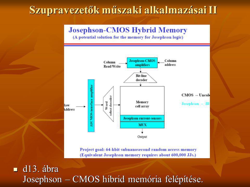 Szupravezetők műszaki alkalmazásai II  d13. ábra Josephson – CMOS hibrid memória felépítése.