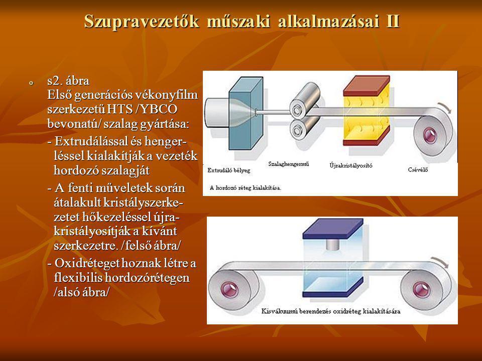 Szupravezetők műszaki alkalmazásai II o s2. ábra Első generációs vékonyfilm szerkezetű HTS /YBCO bevonatú/ szalag gyártása: - Extrudálással és henger-