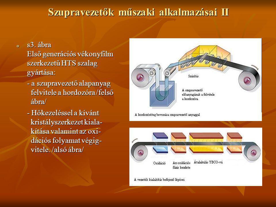 Szupravezetők műszaki alkalmazásai II o s3. ábra Első generációs vékonyfilm szerkezetű HTS szalag gyártása: - a szupravezető alapanyag felvitele a hor