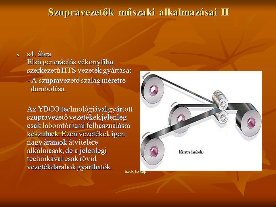 Szupravezetők műszaki alkalmazásai II o s4.