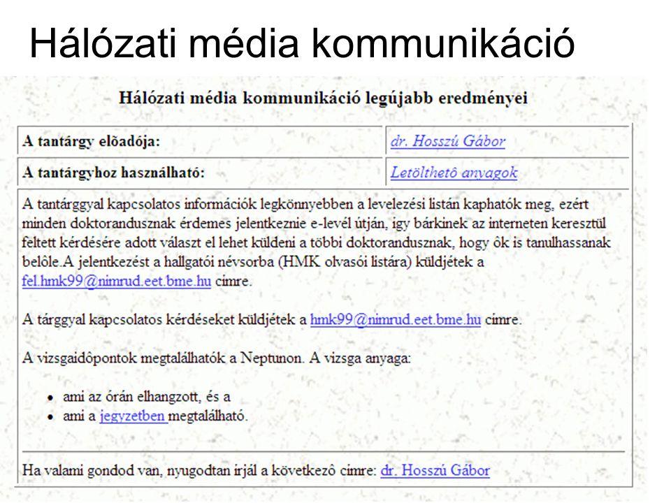 Internetes médiakommunkáció TGY 1. előadás intmedkom01_09 21 Hálózati média kommunikáció