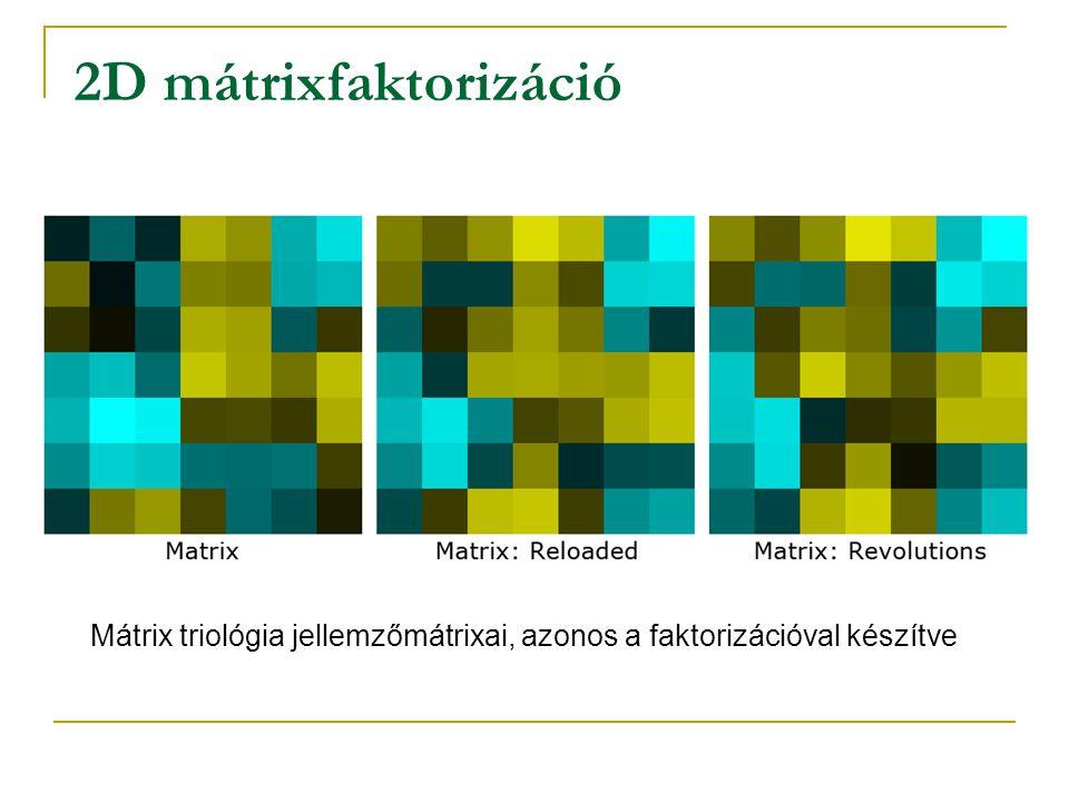 2D mátrixfaktorizáció Mátrix triológia jellemzőmátrixai, azonos a faktorizációval készítve
