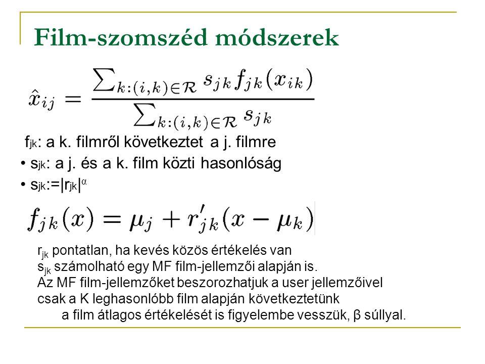 f jk : a k. filmről következtet a j. filmre • s jk : a j. és a k. film közti hasonlóság • s jk :=|r jk | α Film-szomszéd módszerek r jk pontatlan, ha