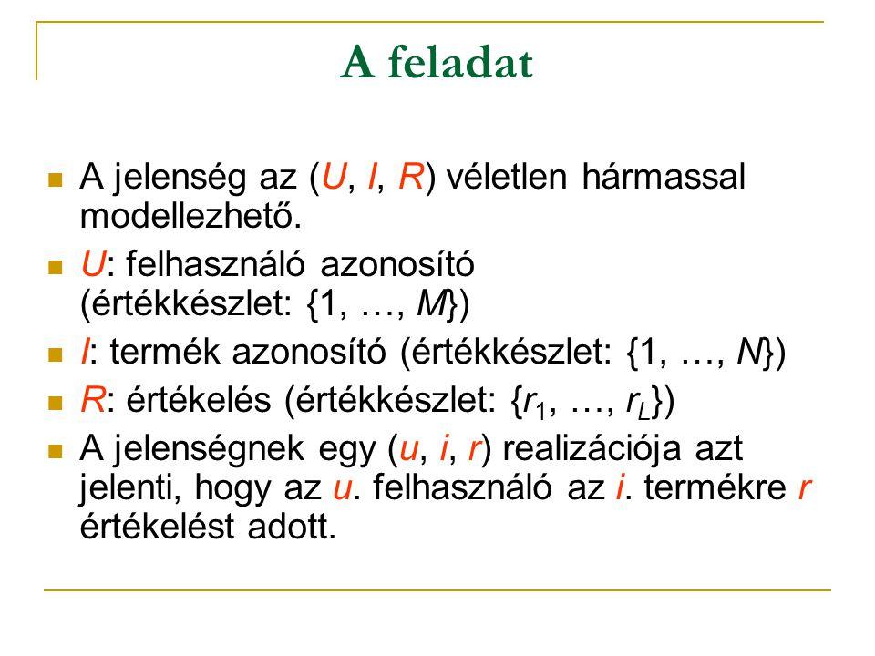  A jelenség az (U, I, R) véletlen hármassal modellezhető.  U: felhasználó azonosító (értékkészlet: {1, …, M})  I: termék azonosító (értékkészlet: {