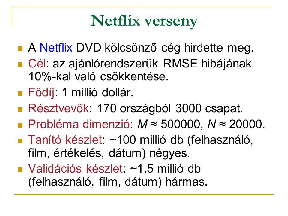 Netflix verseny  A Netflix DVD kölcsönző cég hirdette meg.  Cél: az ajánlórendszerük RMSE hibájának 10%-kal való csökkentése.  Fődíj: 1 millió doll