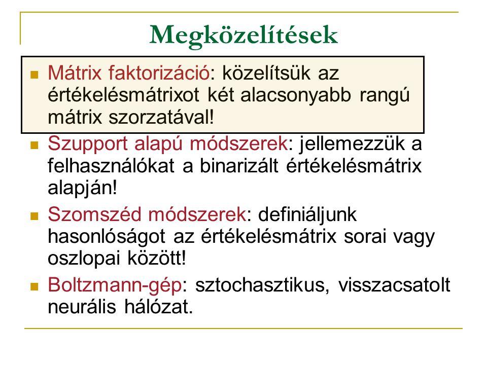 Mátrix faktorizáció  Ötlet: közelítsük az értékelésmátrixot két alacsonyabb rangú mátrix szorzatával.