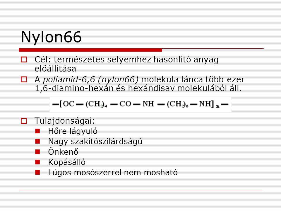 Nylon66  Cél: természetes selyemhez hasonlító anyag előállítása  A poliamid-6,6 (nylon66) molekula lánca több ezer 1,6-diamino-hexán és hexándisav m