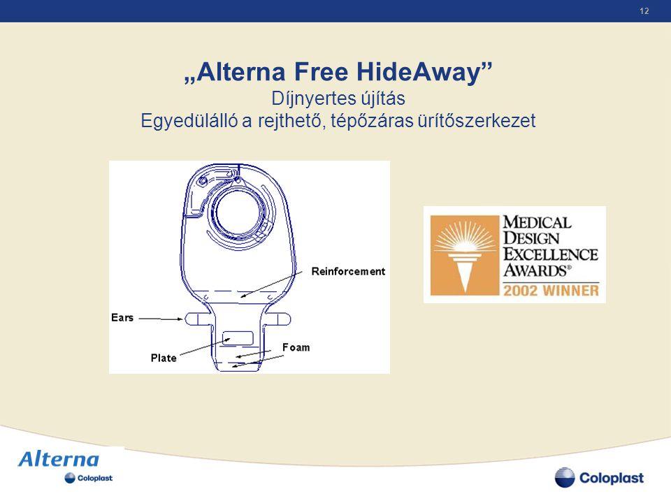 """12 """"Alterna Free HideAway"""" Díjnyertes újítás Egyedülálló a rejthető, tépőzáras ürítőszerkezet"""