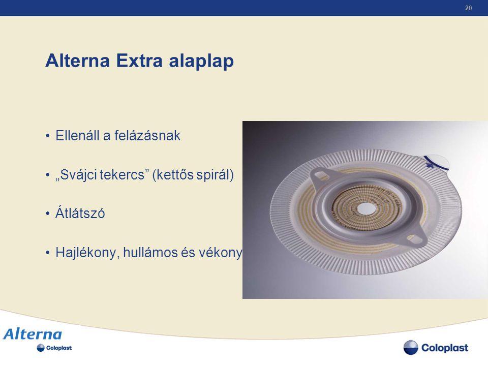 """20 Alterna Extra alaplap •Ellenáll a felázásnak •""""Svájci tekercs"""" (kettős spirál) •Átlátszó •Hajlékony, hullámos és vékony szél"""