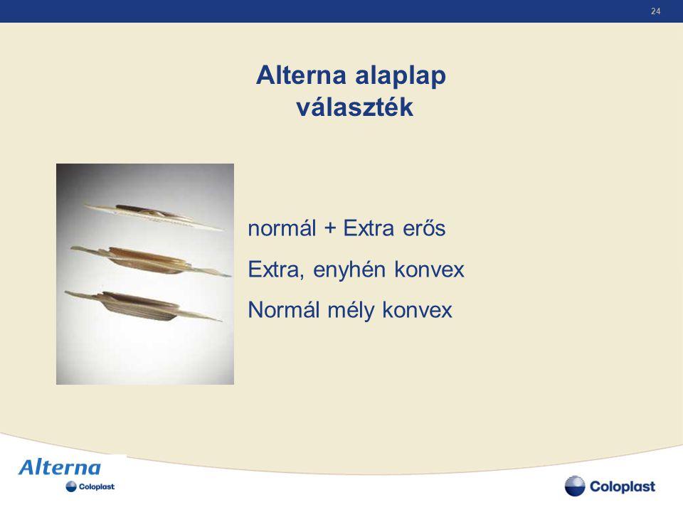 24 Alterna alaplap választék normál + Extra erős Extra, enyhén konvex Normál mély konvex