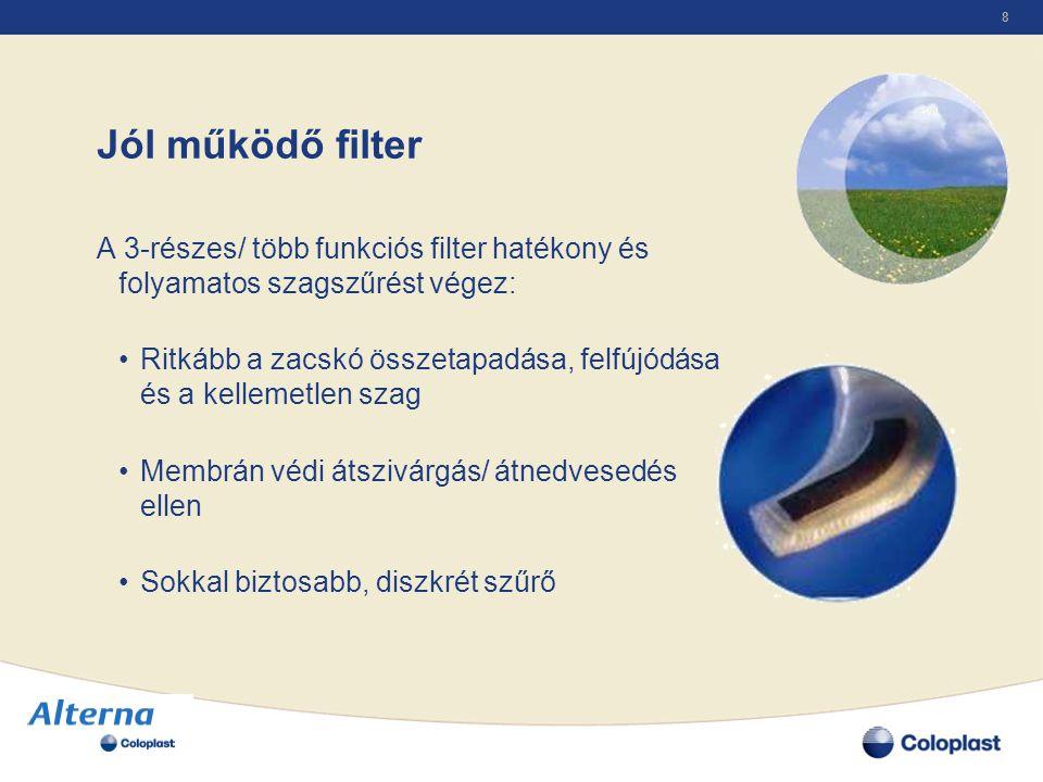 8 Jól működő filter A 3-részes/ több funkciós filter hatékony és folyamatos szagszűrést végez: •Ritkább a zacskó összetapadása, felfújódása és a kelle