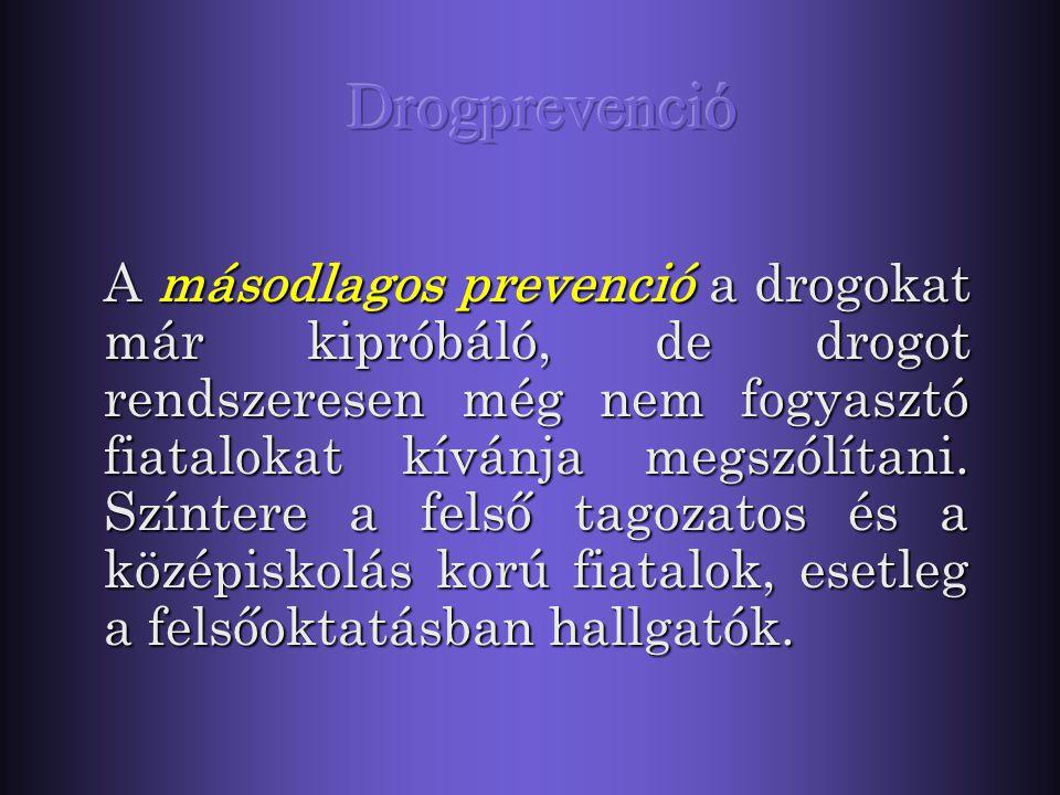 Az elsődleges prevenció a drogot még ki nem próbálók felé irányul. A megelőzés célja, hogy a fiatalok eleve ne is nyúljanak drogokhoz. Színtere az óvo