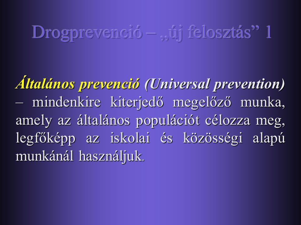 A harmadlagos prevenció a drogfüggők társadalmi beilleszkedését kívánja segíteni: a problémás használókat, drogfüggőket célozza meg. Célja a különféle