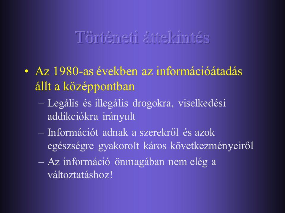 •Az 1980-as években az információátadás állt a középpontban –Legális és illegális drogokra, viselkedési addikciókra irányult –Információt adnak a szerekről és azok egészségre gyakorolt káros következményeiről –Az információ önmagában nem elég a változtatáshoz!