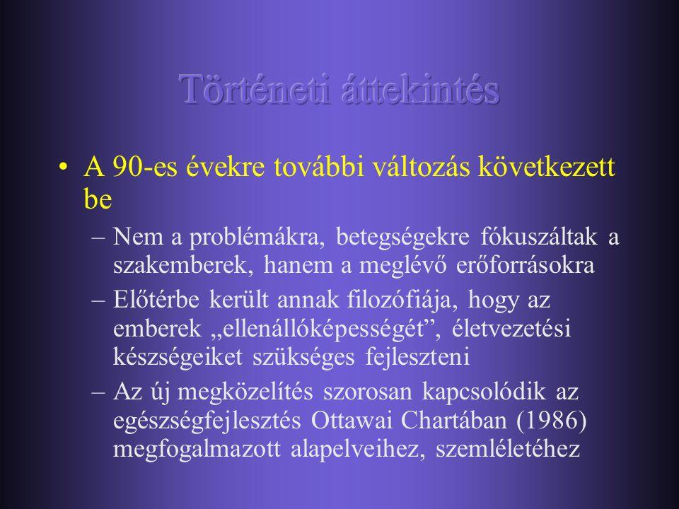 •Az 1980-as években az információátadás állt a középpontban –Legális és illegális drogokra, viselkedési addikciókra irányult –Információt adnak a szer