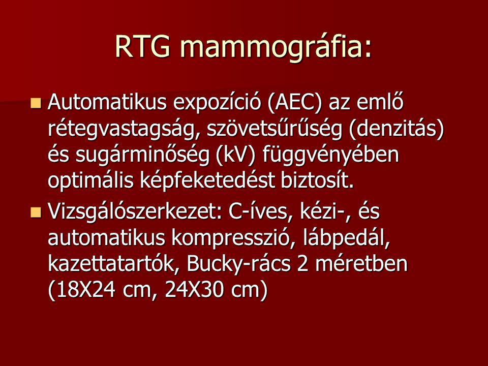 RTG mammográfia:  Automatikus expozíció (AEC) az emlő rétegvastagság, szövetsűrűség (denzitás) és sugárminőség (kV) függvényében optimális képfeketed