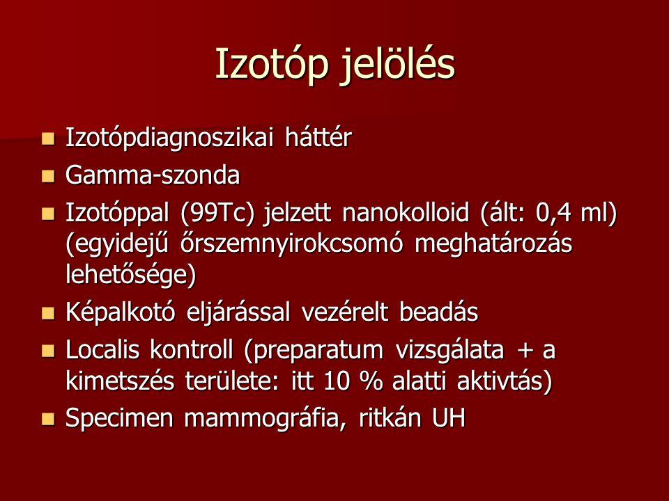 Izotóp jelölés  Izotópdiagnoszikai háttér  Gamma-szonda  Izotóppal (99Tc) jelzett nanokolloid (ált: 0,4 ml) (egyidejű őrszemnyirokcsomó meghatározá