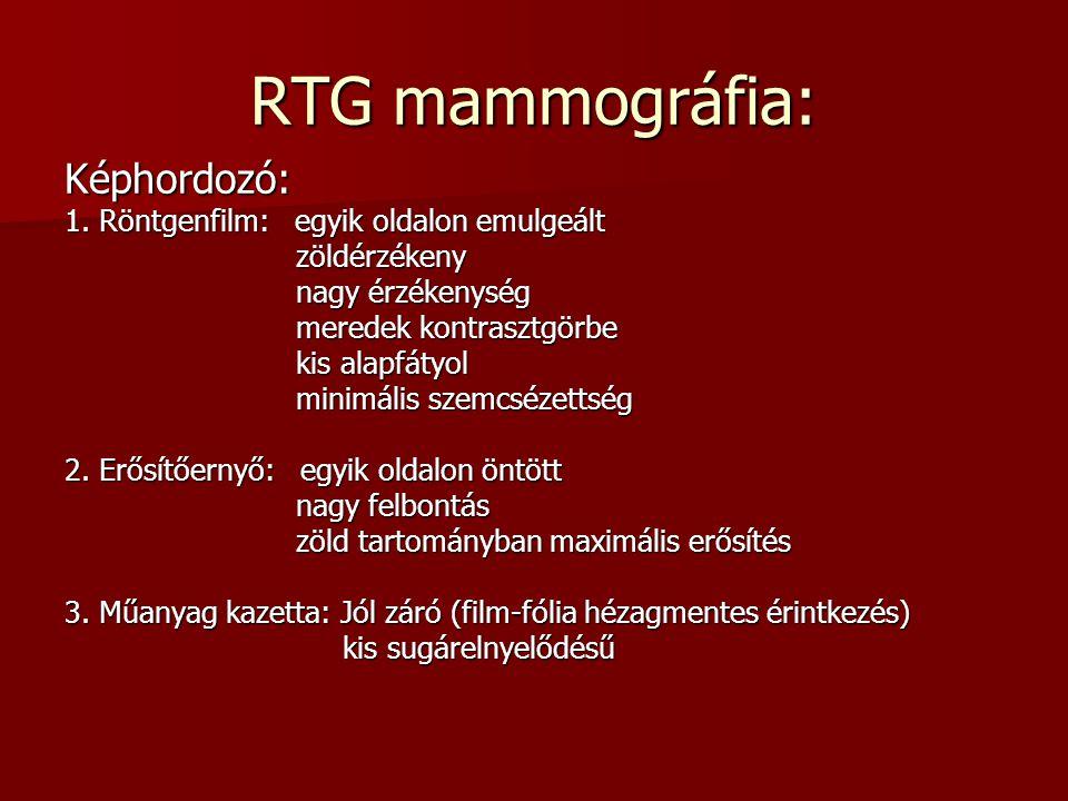 RTG mammográfia: Képhordozó: 1. Röntgenfilm: egyik oldalon emulgeált zöldérzékeny zöldérzékeny nagy érzékenység nagy érzékenység meredek kontrasztgörb