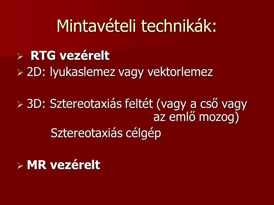 Mintavételi technikák:  RTG vezérelt  2D: lyukaslemez vagy vektorlemez  3D: Sztereotaxiás feltét (vagy a cső vagy az emlő mozog) Sztereotaxiás célg