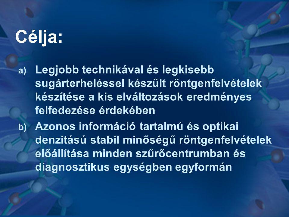A minőségbiztosítás területei I.Röntgensugár generátor, sugárforrás II.