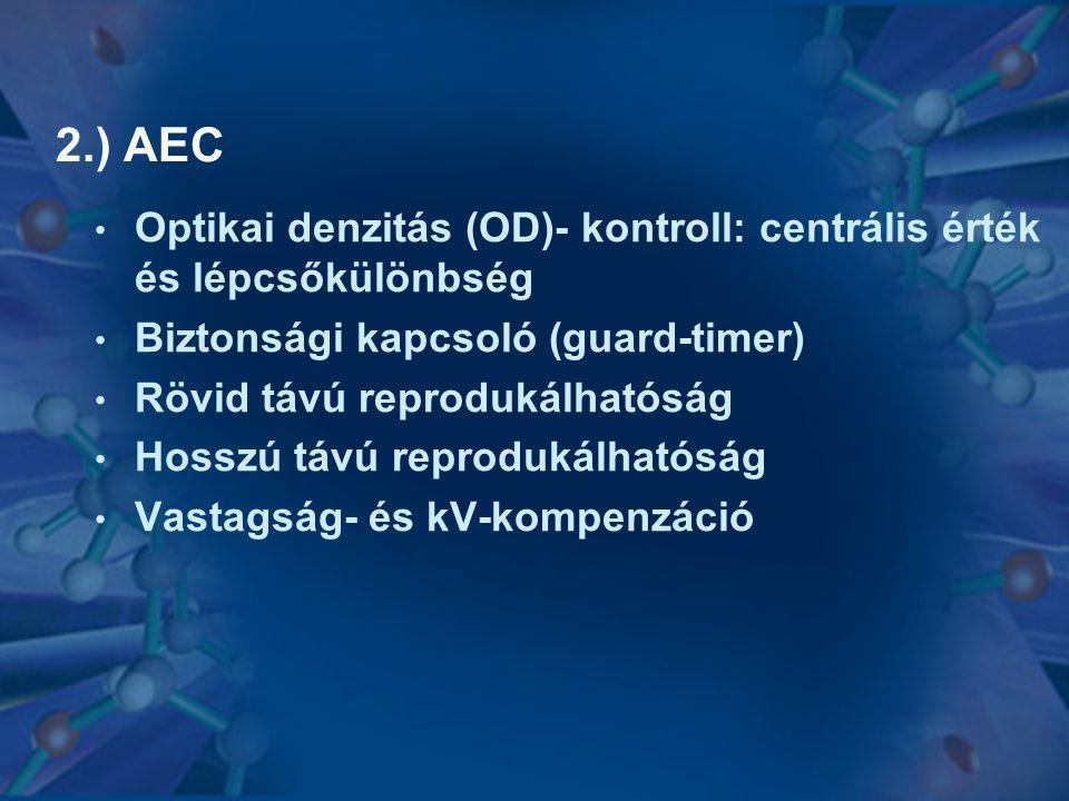 2.) AEC • Optikai denzitás (OD)- kontroll: centrális érték és lépcsőkülönbség • Biztonsági kapcsoló (guard-timer) • Rövid távú reprodukálhatóság • Hos