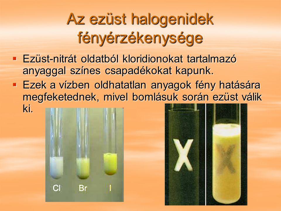 Az ezüst halogenidek fényérzékenysége  Ezüst-nitrát oldatból kloridionokat tartalmazó anyaggal színes csapadékokat kapunk.  Ezek a vízben oldhatatla