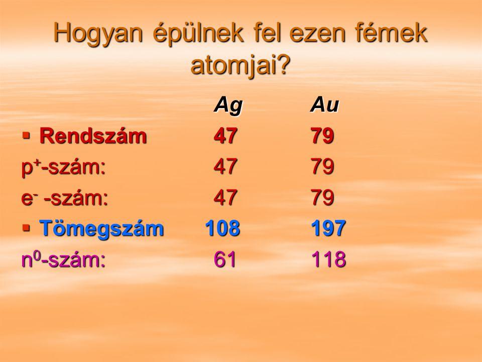 Hogyan épülnek fel ezen fémek atomjai? AgAu  Rendszám4779 p + -szám:4779 e - -szám:4779  Tömegszám 108197 n 0 -szám:61118